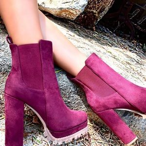 Faux suede chunky heel platform bootie